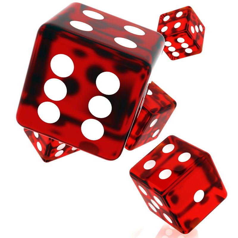 3D Red rolling dice on white background
